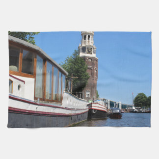 Amsterdam canal view - Boats and spire Kitchen Towels
