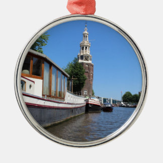 Amsterdam canal view - Boats and spire Silver-Colored Round Ornament
