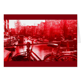 amsterdam canal view red tint card
