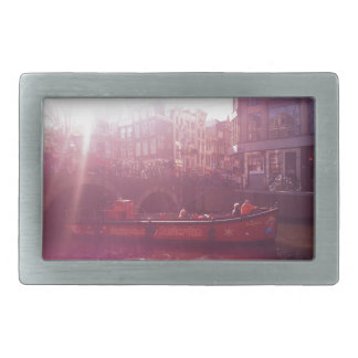 amsterdam canal view with cruise boat belt buckle