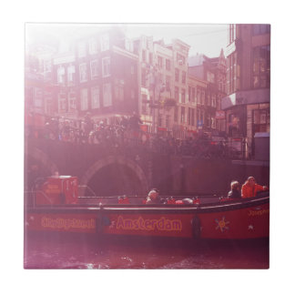 amsterdam canal view with cruise boat ceramic tile
