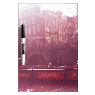 amsterdam canal view with cruise boat dry erase board