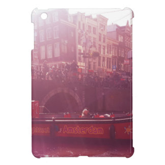 amsterdam canal view with cruise boat iPad mini case