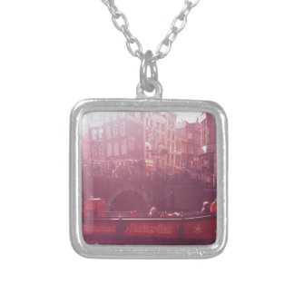 amsterdam canal view with cruise boat silver plated necklace