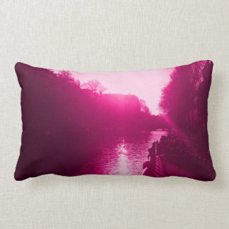 amsterdam canal view with front of bicycles lumbar pillow