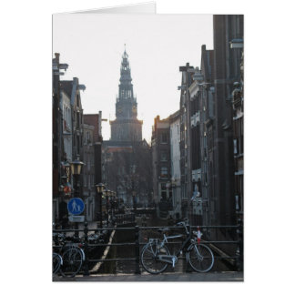 Amsterdam Canal with Bikes and Old Church Card
