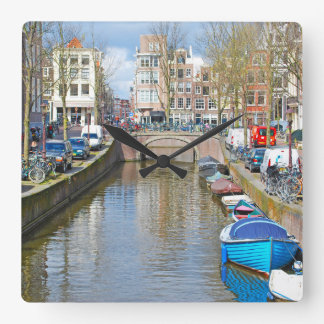 Amsterdam Canal with boats Square Wall Clock