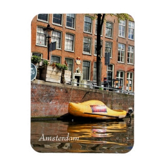 Amsterdam, Canal, Wooden Shoe Boat Rectangular Photo Magnet