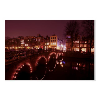 Amsterdam city by night in the Netherlands Poster