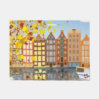 Amsterdam City Canal Autumn Colorful Door Mat