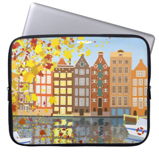 Amsterdam City Canal Autumn Colorful Laptop Sleeve