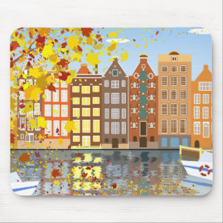 Amsterdam City Canal Autumn Colorful Mousepad