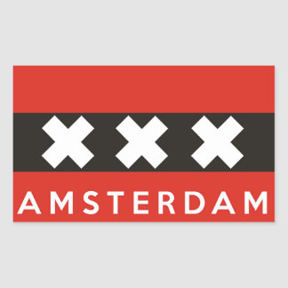 amsterdam city flag netherlands country name text sticker