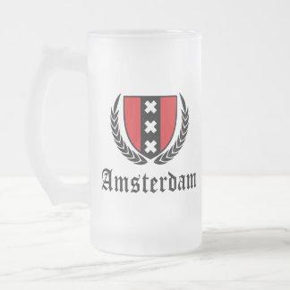 Amsterdam Crest Frosted Glass Beer Mug