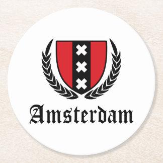 Amsterdam Crest Round Paper Coaster