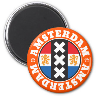 Amsterdam Dutch Flag and City Crosses Symbol 2 Inch Round Magnet