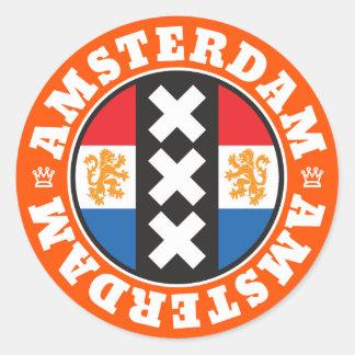 Amsterdam Dutch Flag and City Crosses Symbol Round Sticker