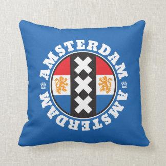 Amsterdam Dutch Flag and City Crosses Symbol Throw Pillow