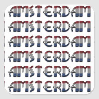 Amsterdam Dutch Flag Colors Netherlands Typography Square Sticker
