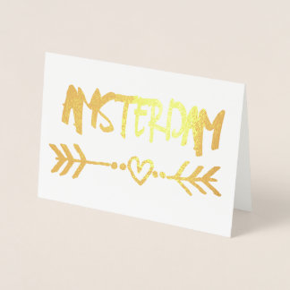 Amsterdam Heart Arrow Gold Foil Elegant Typography Foil Card