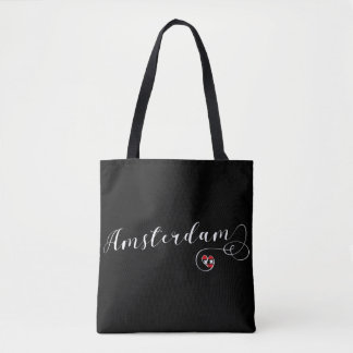 Amsterdam Heart Grocery Bag, Netherlands Tote Bag