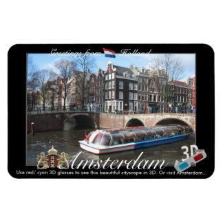 Amsterdam Holland 3D View Anaglyph Magnet