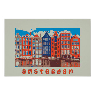 Amsterdam, Holland, Travel Poster