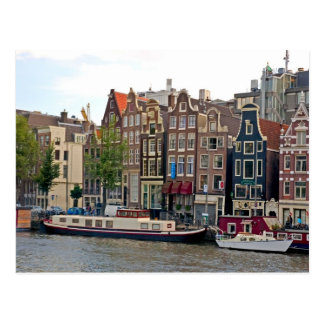 Amsterdam, houses by the canal postcard