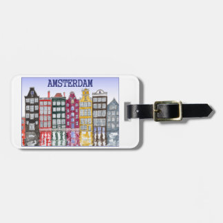Amsterdam Luggage Tag with Original Illustration