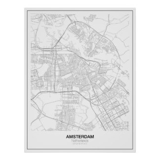 Amsterdam Minimalist Map Poster (style 2)