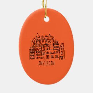 Amsterdam Netherlands Holland City Souvenir Orange Ceramic Oval Ornament