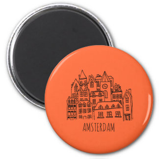 Amsterdam Netherlands Holland City Souvenir Orange Magnet