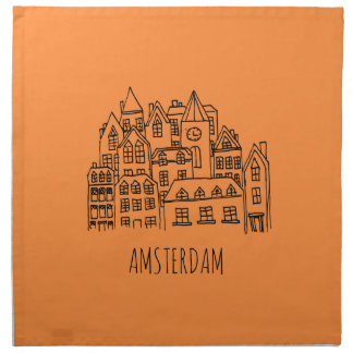 Amsterdam Netherlands Holland City Souvenir Orange Napkin