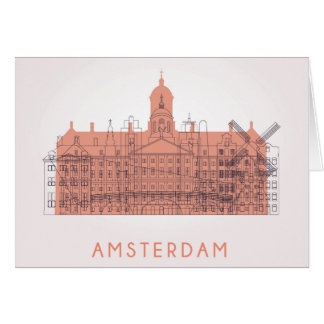 Amsterdam, Netherlands | Skyline of Landmarks Card