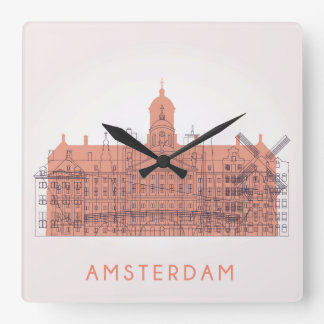 Amsterdam, Netherlands   Skyline of Landmarks Clocks