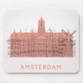 Amsterdam, Netherlands | Skyline of Landmarks Mouse Pad