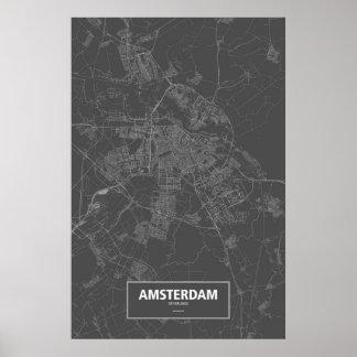Amsterdam, Netherlands (white on black) Poster