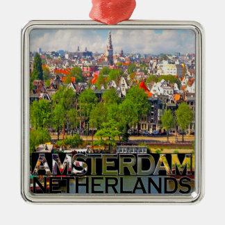 Amsterdam Silver-Colored Square Ornament