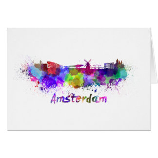 Amsterdam skyline in watercolor card