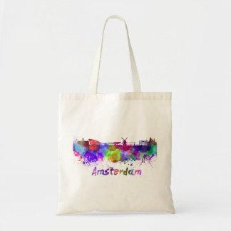 Amsterdam skyline in watercolor tote bag