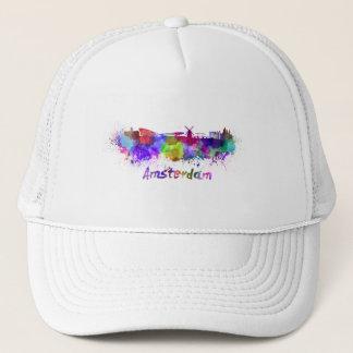 Amsterdam skyline in watercolor trucker hat