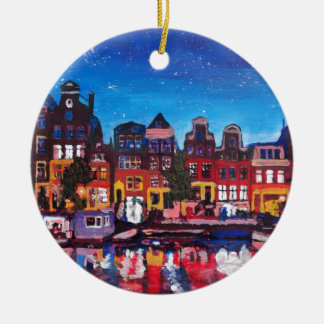 Amsterdam Skyline With Canal At Night Ceramic Ornament