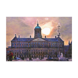 Amsterdam. Sunset over the Royal Palace. Canvas Print
