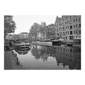 Amsterdam. The unity of canals, ships and houses. Photo Print