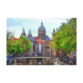 Amsterdam. View of Church of Saint Nicholas. Canvas Print