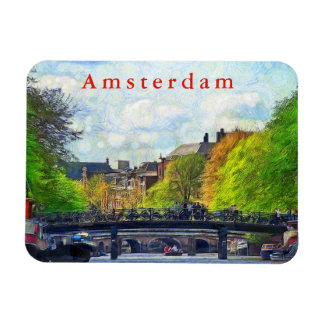 Amsterdam.  View of the Singel Canal. Magnet
