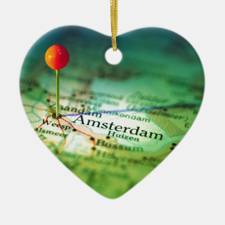 AMSTERDAM Vintage Map Ceramic Ornament
