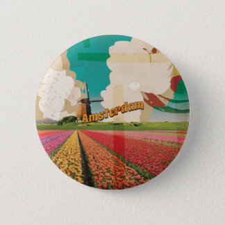 Amsterdam Vintage Travel Poster 2 Inch Round Button