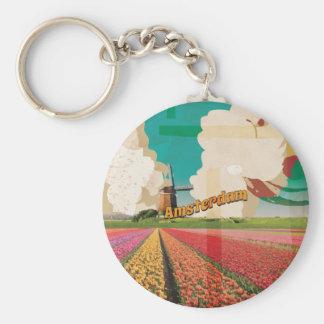 Amsterdam Vintage Travel Poster Keychain