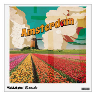 Amsterdam Vintage Travel Poster Wall Decal